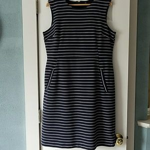 Lands End blue and white horizontal striped dress